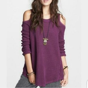 Free People Purple Cold Shoulder Sweater XS